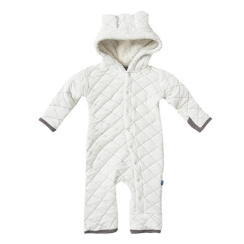 Quilted Hoodie Coverall with Sherpa-Lined Hood in Natural with Rain Trim
