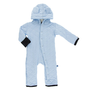 Quilted Hoodie Coverall with Sherpa-Lined Hood in Pond with Midnight Trim