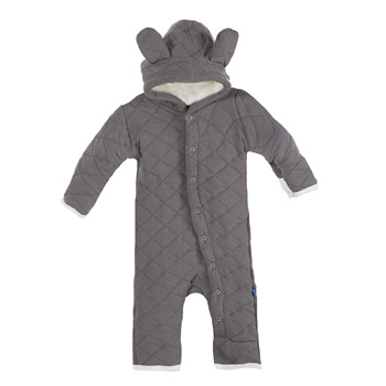 Quilted Hoodie Coverall with Sherpa-Lined Hood in Rain with Natural Trim