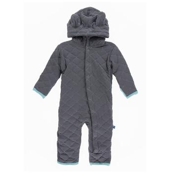 Quilted Hoodie Coverall with Sherpa-Lined Hood in Stone with Glacier Trim