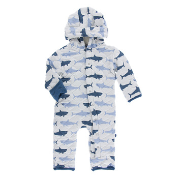 Quilted Hoodie Coverall with Sherpa-Lined Hood in Natural Megalodon with Twilight Trim