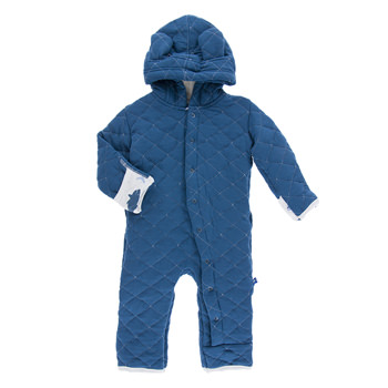 Quilted Hoodie Coverall with Sherpa-Lined Hood in Twilight with Natural Megalodon Trim