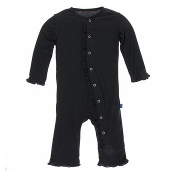 Basic Classic Ruffle Coverall in Midnight