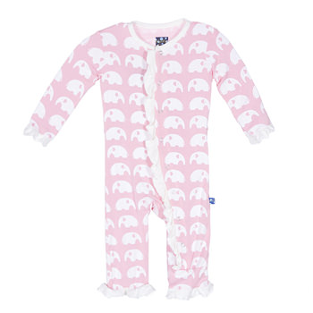 Essentials Print Classic Ruffle Coverall in Lotus Elephant