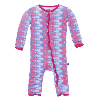 Print Classic Ruffle Coverall in Forget Me Not Piranha