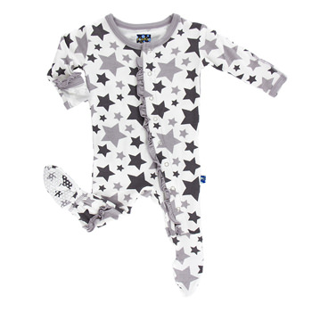 Essentials Print Classic Ruffle Footie in Feather/Rain Stars