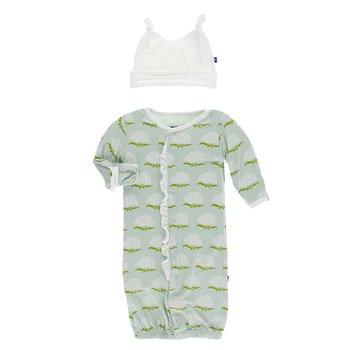 Kickee Pants Print Layette Gown Single Knot Hat Set Oasis Hibiscus Preemie