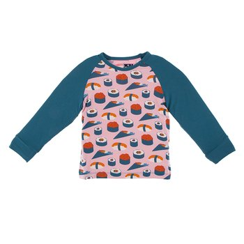 Print Long Sleeve Fitted Raglan Tee in Lotus Sushi