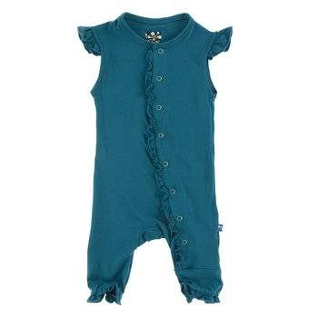 Solid Ruffle Tank Coverall in Heritage Blue