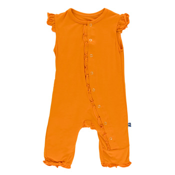 Solid Ruffle Tank Coverall in Sunset