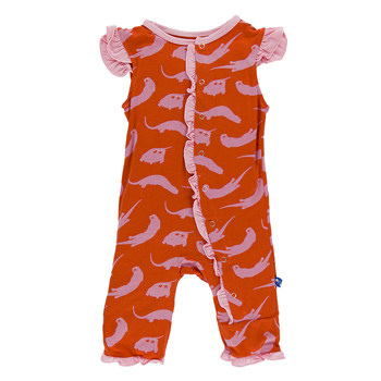 Print Ruffle Tank Coverall in Poppy River Otter