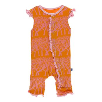 Print Ruffle Tank Coverall in Sunset Fireflies
