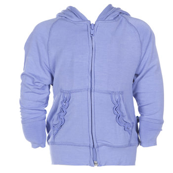 Lightweight Solid Ruffle Zip-Front Hoodie in Forget Me Not