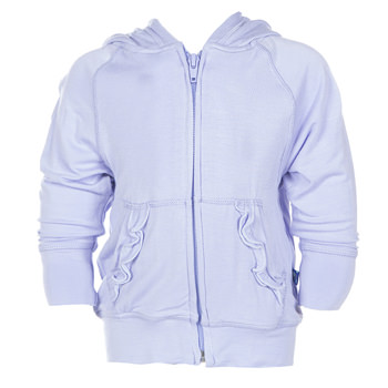 Lightweight Solid Ruffle Zip-Front Hoodie in Lilac