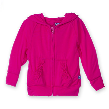 Lightweight Solid Ruffle Zip-Front Hoodie in Prickly Pear
