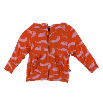 Lightweight Print Ruffle Zip-Front Hoodie in Poppy River Otter