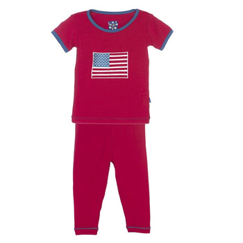 Holiday Short Sleeve Appliqué Pajama Set in Crimson American Flag