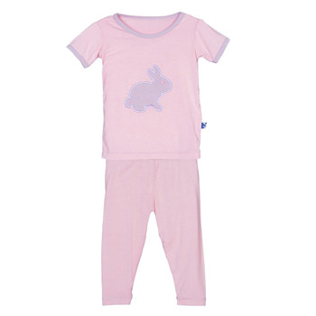 Holiday Short Sleeve Appliqué Pajama Set in Lotus Bunny