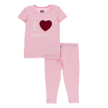 Holiday Short Sleeve Appliqué Pajama Set in Lotus I Love Grandma
