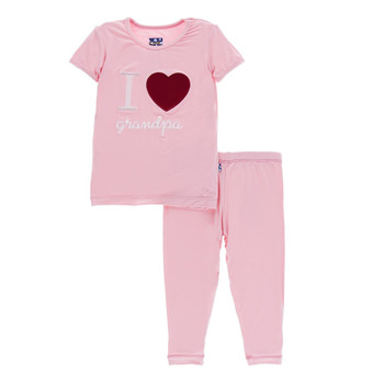 Holiday Short Sleeve Appliqué Pajama Set in Lotus I Love Grandpa
