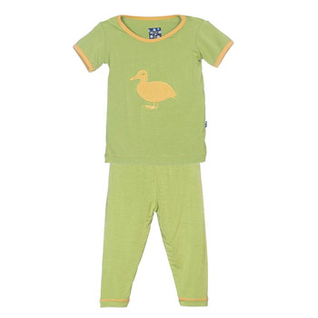 Holiday Short Sleeve Appliqué Pajama Set in Meadow Duck
