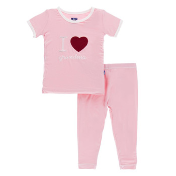 Holiday Short Sleeve Appliqué Pajama Set in Lotus I Love Grandma with Natural Trim