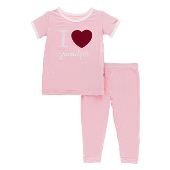 Holiday Short Sleeve Appliqué Pajama Set in Lotus I Love Grandpa with Natural Trim
