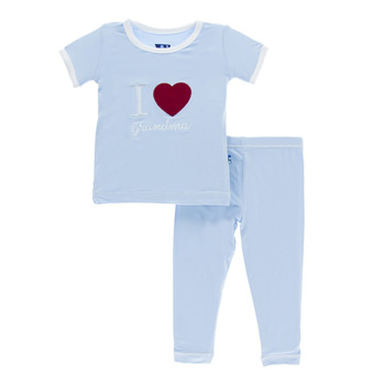 Holiday Short Sleeve Appliqué Pajama Set in Pond I Love Grandma with Natural Trim