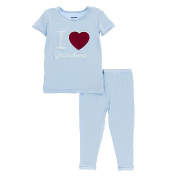 Holiday Short Sleeve Appliqué Pajama Set in Pond I Love Grandma