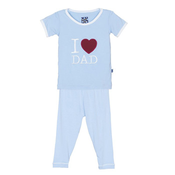 Holiday Short Sleeve Appliqué Pajama Set in Pond I Love Dad