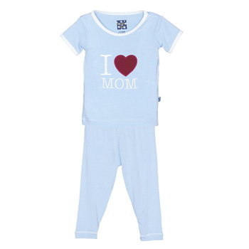 Holiday Short Sleeve Appliqué Pajama Set in Pond I Love Mom