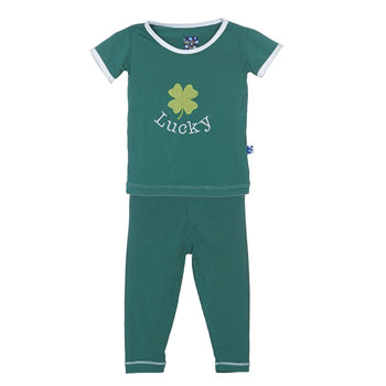 Holiday Short Sleeve Appliqué Pajama Set in Shady Glade Lucky Clover