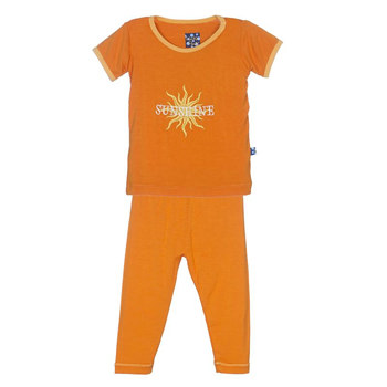 Holiday Short Sleeve Appliqué Pajama Set in Sunset Sunshine