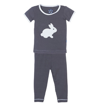 Holiday Short Sleeve Appliqué Pajama Set in Stone Bunny
