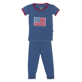 Holiday Short Sleeve Appliqué Pajama Set in Twilight American Flag