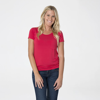 Solid Short Sleeve Loosey Goosey Tee with Pocket in Flag Red