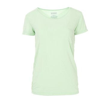 Solid Short Sleeve Loosey Goosey Tee with Pocket in Pistachio