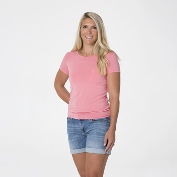 Solid Short Sleeve Loosey Goosey Tee with Pocket in Strawberry