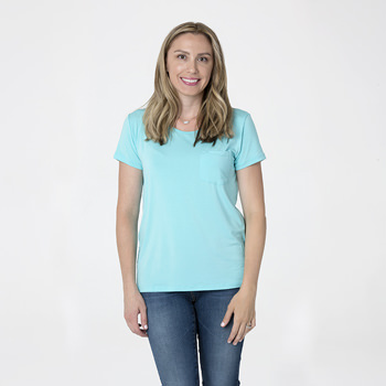 Solid Short Sleeve Loosey Goosey Tee with Pocket in Shining Sea
