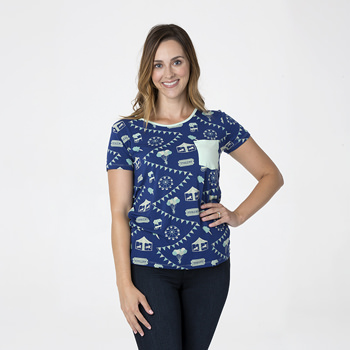 Print Short Sleeve Loosey Goosey Tee with Pocket in Flag Blue Carnival