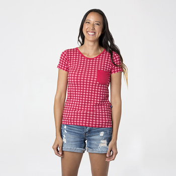 Print Short Sleeve Loosey Goosey Tee with Pocket in Flag Red Gingham