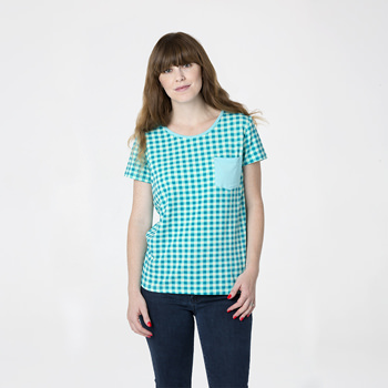 Print Short Sleeve Loosey Goosey Tee with Pocket in Pistachio Gingham