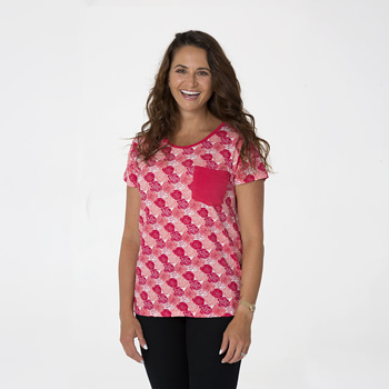 Print Short Sleeve Loosey Goosey Tee with Pocket in Roses
