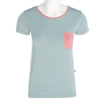 Print Short Sleeve Loosey Goosey Tee with Pocket in Strawberry Stripe