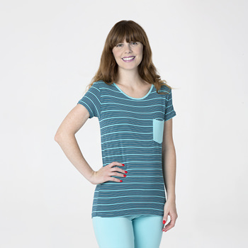 Print Short Sleeve Loosey Goosey Tee with Pocket in Shining Sea Stripe