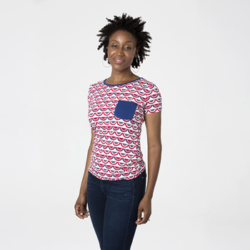 Print Short Sleeve Loosey Goosey Tee with Pocket in Flag Swag