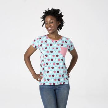 Print Short Sleeve Loosey Goosey Tee with Pocket in Tallulah's Butterfly