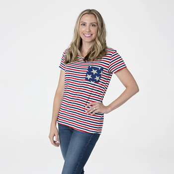 Print Short Sleeve Loosey Goosey Tee with Pocket in USA Stripe