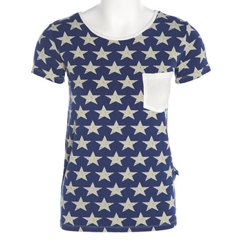 Print Short Sleeve Loosey Goosey Tee with Pocket in Vintage Stars