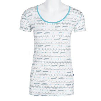 Print Short Sleeve Scoop Neck Tee in Natural Southwest